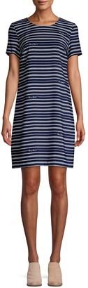 Karl Lagerfeld Paris Striped Short-Sleeve Shirtdress