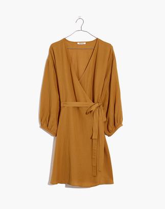 Madewell Linen-Blend Balloon-Sleeve Wrap Dress