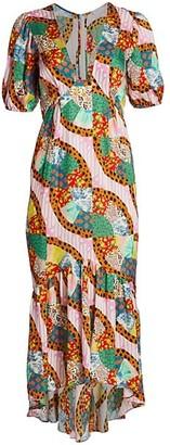 Rhode Resort Ester Puff-Sleeve Patchwork Dress