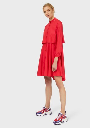 Emporio Armani Poplin Shirt Dress With Asymmetrical Hem