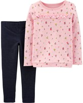 Carter's Toddler Girl 2-Piece Floral French Terry Top & Knit Denim Pants Set