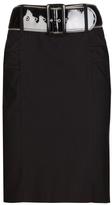 Zipper Belted Pencil Skirt