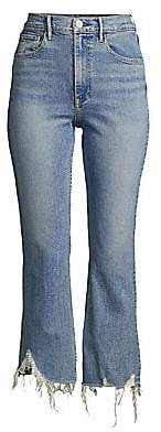 3x1 Women's Empired Distressed Cropped Flare Jeans