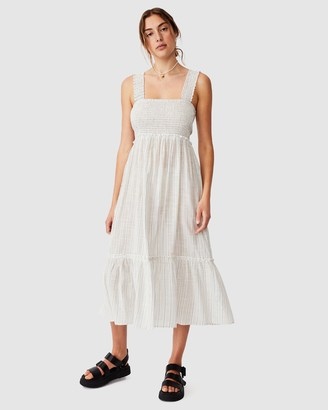 Cotton On Woven Tess Shirred Strappy Midi Dress