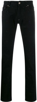Fendi embroidered FF motif jeans