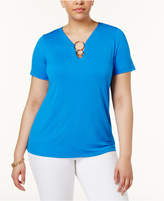 INC International Concepts Plus Size Hardware T-Shirt, Created for Macy's