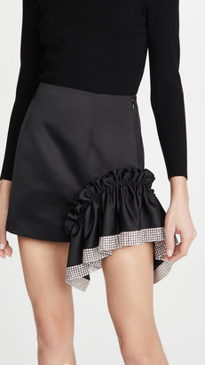 Area Duchess Crystal Trim Ruffle Miniskirt