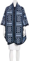 Sea Patterned Knit Poncho