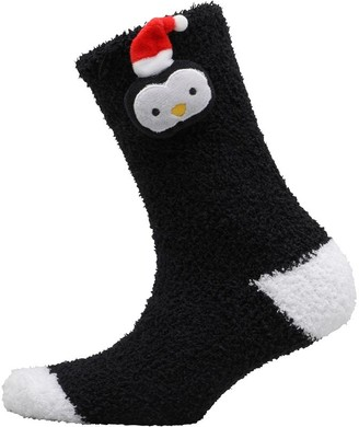 Brave Soul Womens Ivy Penguin Bed Socks Black/White/Red