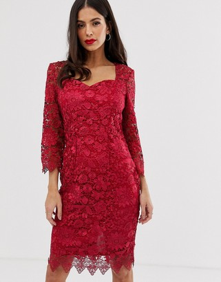Paper Dolls all over lace 3/4 sleeve midi dress