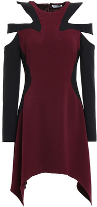 Thierry Mugler Cold-shoulder Cutout Stretch-crepe Mini Dress