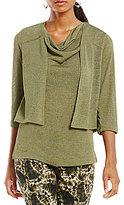 Jones New York 3/4 Sleeve Knit Gauze Cropped Cardigan