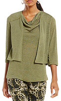 Jones New York 34 Sleeve Knit Gauze Cropped Cardigan