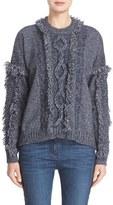 Belstaff Women's 'Kia' Fringe Trim Cable Knit Wool Blend Sweater