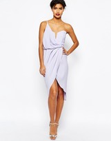 Asos Asymmetric One Shoulder Wrap Front Pencil Dress