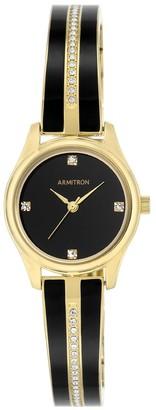 Armitron Ladies' Bangle Watch - Black Enamel, Gold