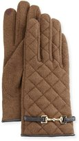 Portolano Wool-Blend Quilted Gloves, Brown/Brown