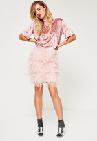 Missguided Pink All Over Feather Mini Skirt