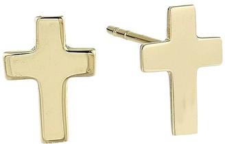 Dee Berkley 14Kt Solid Gold Cross Stud Earrings