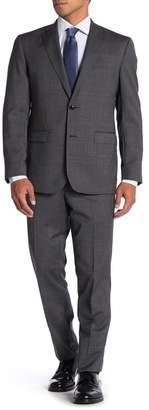 Ted Baker Jarrow Grey Sharkskin Two Button Notch Lapel Wool Slim Fit Suit