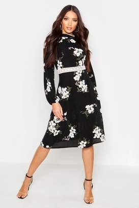 boohoo Woven Floral Crochet Waist Midi Dress