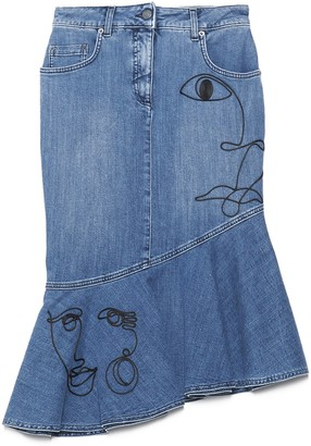 Moschino Faces Embroidered Denim Skirt