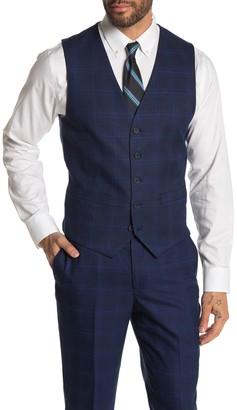 Moss Bros Medium Blue Plaid Tailored Fit Suit Separates Vest