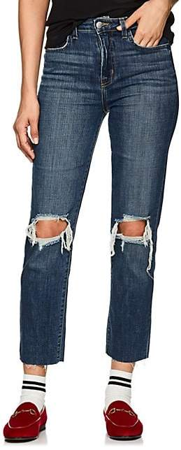 L'Agence Women's Audrina Distressed Straight Jeans - Blue