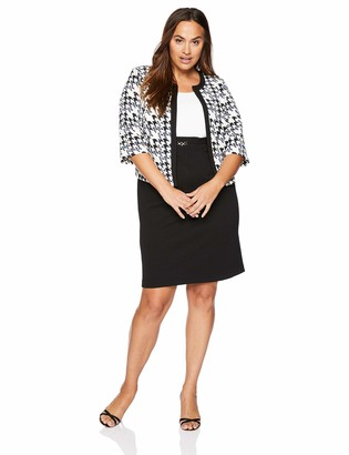 Sandra Darren Women's 2 PC Plus Size 3/4 Sleeve Bullet Knit Jacket Dress Set