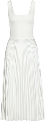 Theory Paneled Ribbed-knit And Pleated Satin-crepe Midi Dress