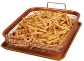 Copper Chef Crisper Non-Stick Oven Baking Tray with Elevated Mesh Basket, Copper, 2-Piece