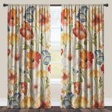 Laural Home® Watercolor Poppies Rod Pocket Sheer Window Curtain Panel in Red