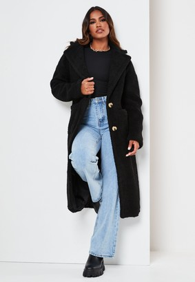 Missguided Tall Black Borg Patch Pocket Coat