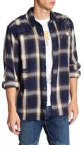 True Religion Plaid Distressed & Embellished Loose Fit Shirt