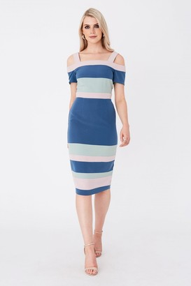 Paper Dolls Rowe Colour Block Cold-Shoulder Midi Dress