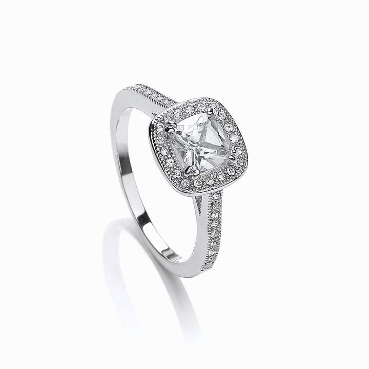 House of Fraser Buckley London Rhodium plated cushion cut ring