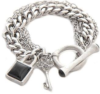 Rivka Friedman White Rhodium Clad Onyx Bracelet