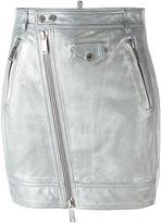 DSQUARED2 metallic skirt - women - Lamb Skin/Polyester/Viscose - 38