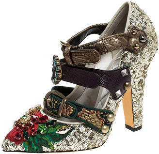 Dolce & Gabbana Multicolor Mixed Media Crystal Embellished Mary Jane Pumps Size 36