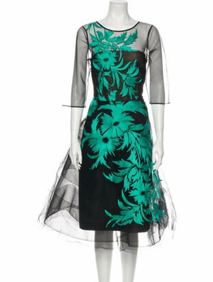Oscar de la Renta 2015 Midi Length Dress Black
