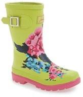 Joules Girl's 'Welly' Print Waterproof Rain Boot