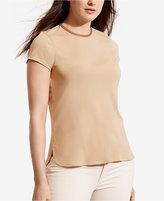 Lauren Ralph Lauren Plus Size Faux Leather–Trim Jersey T-Shirt