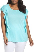 Sejour Plus Size Women's Flutter Sleeve Tee
