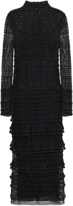 Valentino Tiered Embellished Silk-tulle And Lace Midi Dress