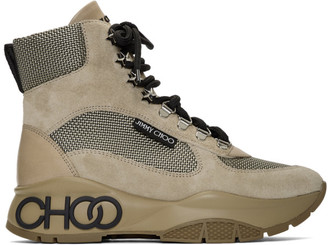 Jimmy Choo Tan Inka New Logo Lace-Up Boots