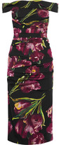 Dolce & Gabbana Off-the-shoulder Floral-print Stretch-silk Charmeuse Dress - Lavender