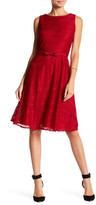 Gabby Skye Belted Lace Fit & Flare Dress