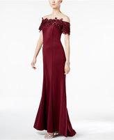 Sl Fashions Off-The-Shoulder Lace-Trim Gown