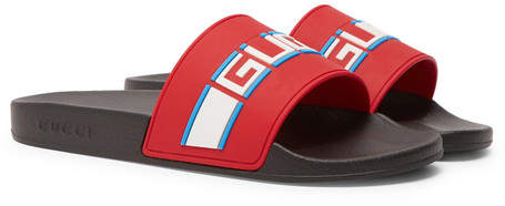 Gucci Logo-Detailed Rubber Slides - Men - Red