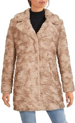 Kenneth Cole New York Notch Collar Faux Fur Coat